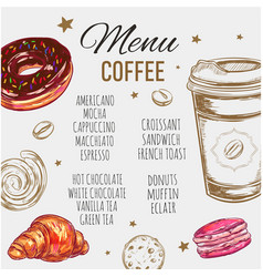 coffee and bakery restaurant menu brochure vector image