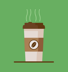Coffee cup icon with coffee beans on green vector