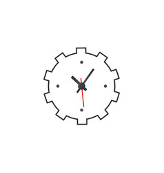 cogwheel with approval sign and alarm clock vector image