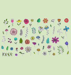 collection cute sketch color flowers stickers vector image