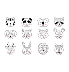 Collection hand drawn animals vector