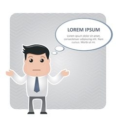 Confused man in a tie and a text bubble vector