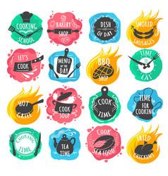 cooking food lettering emblems vector image