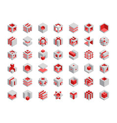 Cube logo design cubes 3d set template graphic vector