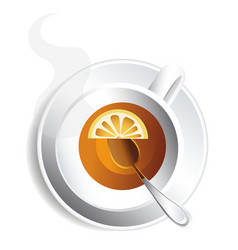 cup tea with lemon for design image vector image