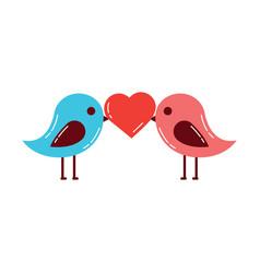 cute couple birds heart in beak valentines day vector image