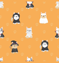cute french bulldog puppy in halloween costume vector image