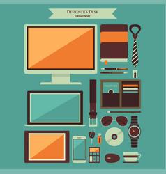 designer desktop items flat icons vector image