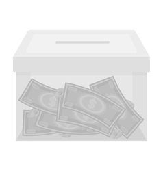 Donation moneybox icon in monochrome style vector