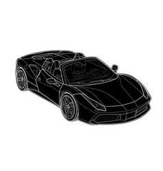 draw of a flat sport car with black lines vector image