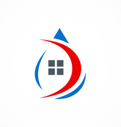 Droplet house water supply logo vector