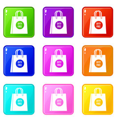 Duty free shopping bag set 9 vector