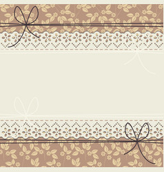 elegant lace frame with flowers and leaves vector image