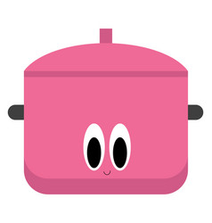 Emoji a smiling saucepan in lovely pink or vector