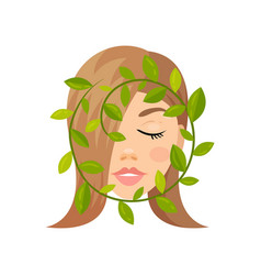 face of beautiful woman and green leaves natural vector image
