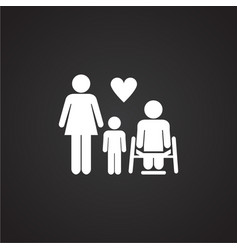 family with disabled member on black background vector image