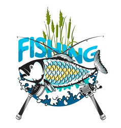 Fish and fishing rod symbol vector