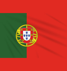 Flag portugal swaying in wind realistic vector