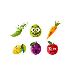 flat set humanized fruits and vegetables vector image