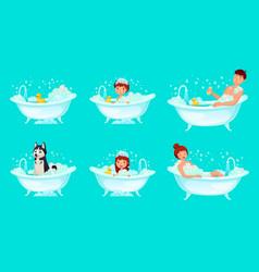 foam bath bathroom tub bathing man relaxing vector image