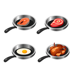 fried meat salmon vegetables on the pan vector image