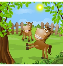 funny horse on nature vector image