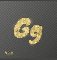 golden shiny letter g on a transparent background vector image