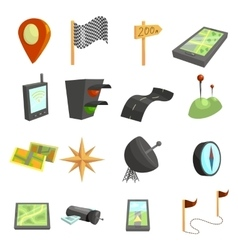 GPS navigation icons set cartoon style vector