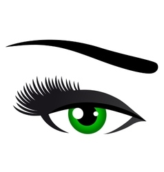 Green eye with long eyelashes vector