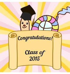 Greeting card with a character and congratulations vector image
