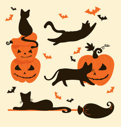 Halloween cats and pumpkins trick or treat card vector