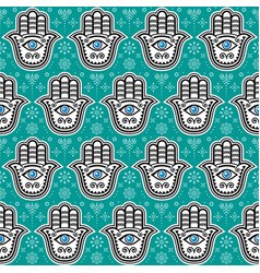 Hamsa hand hand fatima seamless pattern vector