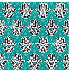 hamsa hand hand of fatima seamless pattern vector image