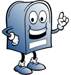 Hand-drawn an blue mailbox vector