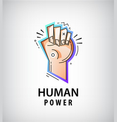 Hand fist logo power fight icon vector