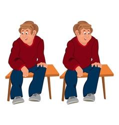 Happy cartoon man sitting on brown bench vector