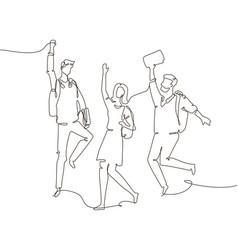 Happy groupmates - one line design style vector