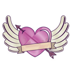 heart love with arrow and wings vector image