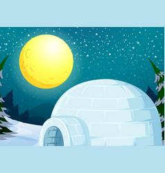 Igloo in the winter landscape vector