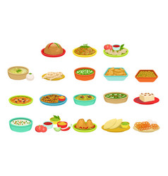 indian food signature dishes set vector image