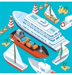 Isometric Set Ships Sea Transport vector image