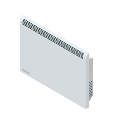Isometric white Con Heater Home Heating vector