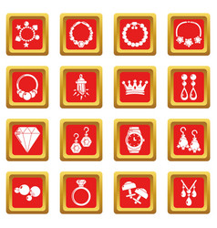 Jewelry shop icons set red square vector