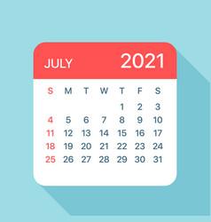 July 2021 calendar leaf vector