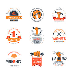 labour day set of banners with workers and vector image