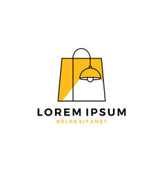 Lamp lighting shop logo store interior outline vector