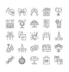 large set black and white line drawn party vector image