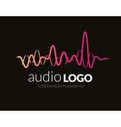 Logo template sound wave studio music dj audio vector