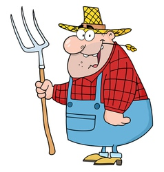 lucky farmer man carrying a rake vector image