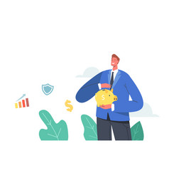 male character covering piggy bank with hand man vector image